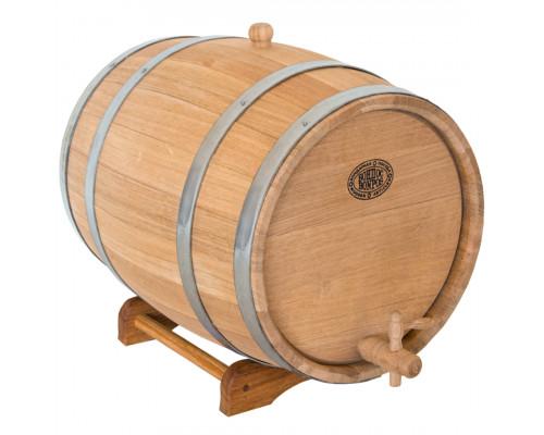 Бочка дубовая 30 л для вина, коньяка (нержавеющий обруч)