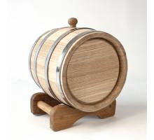 Бочонок дубовый 3 литра для напитков (нержавеющий обруч) б/к