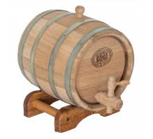Бочка дубовая 3 л для вина, коньяка (оцинкованный обруч)