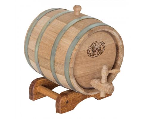 Бочка дубова 3 л для вина, коньяку (оцинкований обруч)