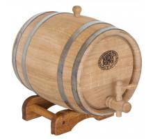 Бочка дубовая 15 л для вина, коньяка (нержавеющий обруч)