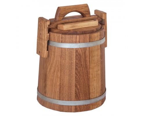 Кадка дубовая для солений 5 л БонПос (оцинкованый обруч)