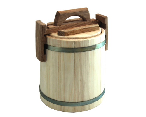 Кадка липовая для мёда 5 л БонПос (оцинкованый обруч)