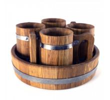 Деревянные кружки для пива набор 4 шт