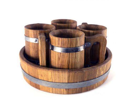 Дерев'яні кухлі для пива набір 4 шт