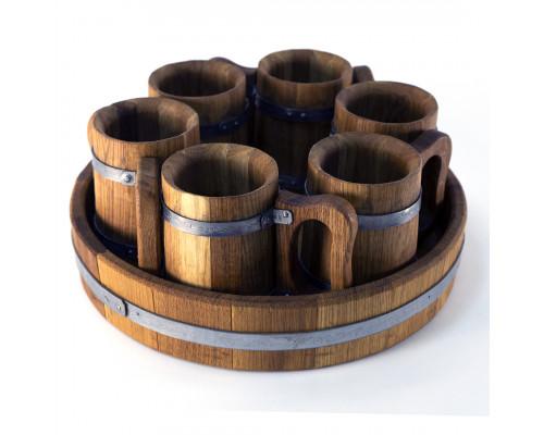 Дерев'яні кухлі для пива набір 6 шт