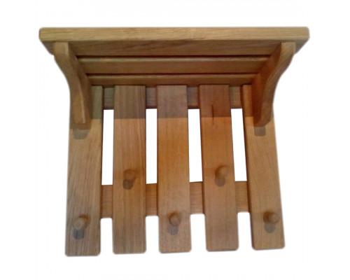 Вешалка деревянная настенная с полкой