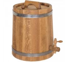 Жбан дубовый 10 литров для напитков (нержавеющий обруч)