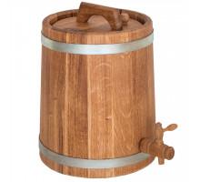Бочка дубова (жбан) 15 л для вина, коньяку (оцинкований обруч)