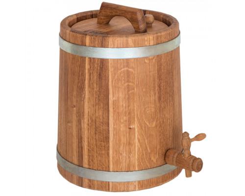 Бочка дубовая (жбан) 15 л для вина, коньяка (оцинкованный обруч)