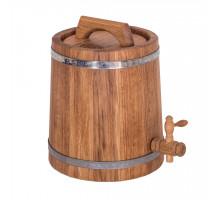 Бочка дубовая (жбан) 5 л для вина, коньяка (нержавеющий обруч)