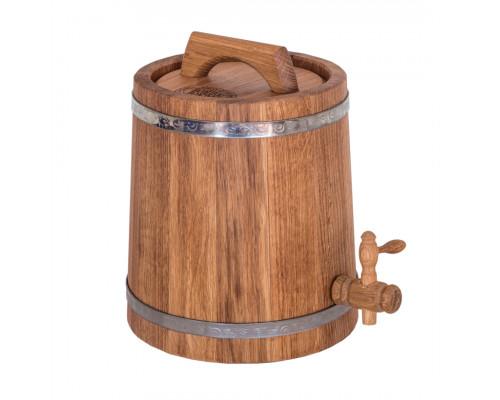 Жбан дубовый 3 литров для напитков (нержавеющий обруч)