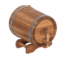 Бочка дубовая (жбан) 3 л для вина, коньяка (нержавеющий обруч)