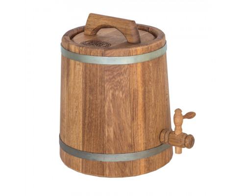 Бочка дубовая (жбан) 5 л для вина, коньяка (оцинкованный обруч)