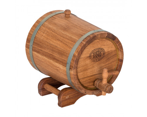 Бочка дубовая (жбан) 3 л для вина, коньяка (оцинкованный обруч)